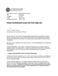 Home confinement Under First Step Act
